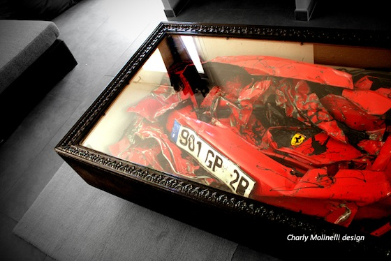 Crashed Ferrari Table by Charly Molinelli (All rights reserved)