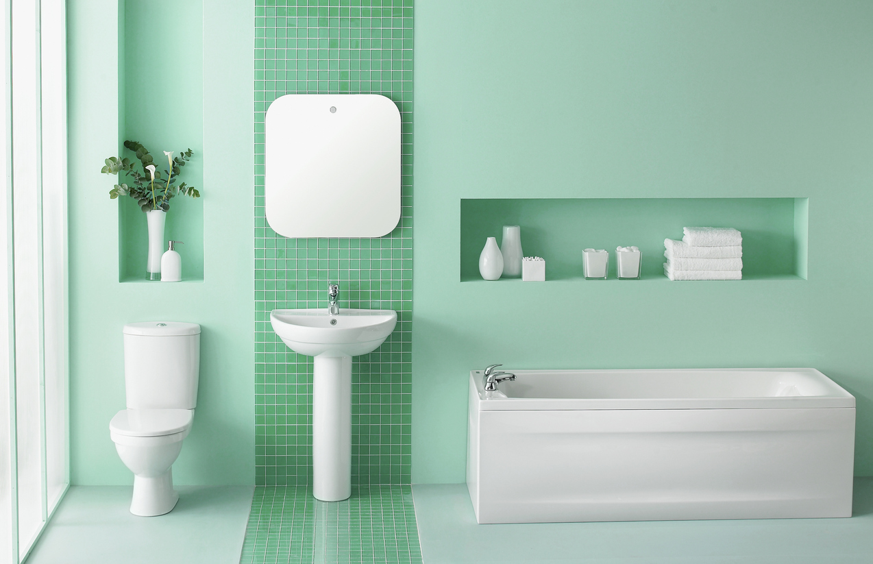Simplistic green bathroom
